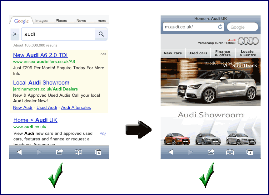 Phenomenal growth of mobile search - Audi mobile search
